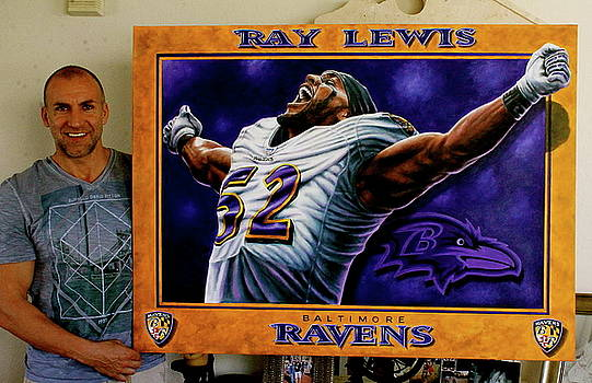 Ray Lewis Original Painting For Sale  by Sports Art World Wide John Prince