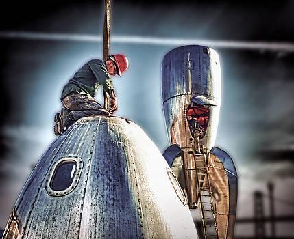 Raygun Gothic Rocketship Safe Landing by Steve Siri