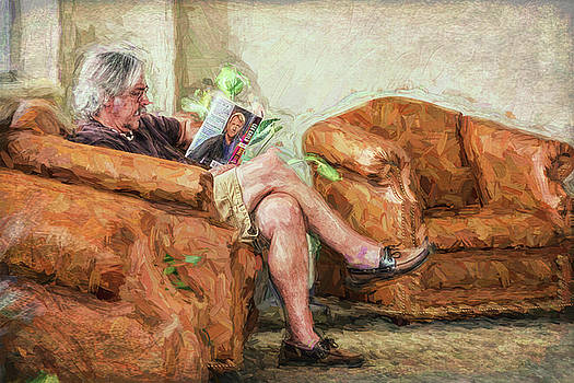 Reading At The Library by Lewis Mann