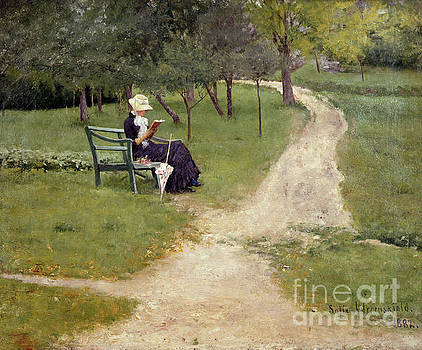 Reading woman on a garden bench by Sophie Werenskiold