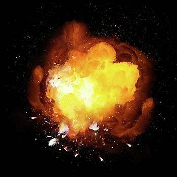 Realistic fiery bomb explosion with sparks and smoke by Lukasz Szczepanski