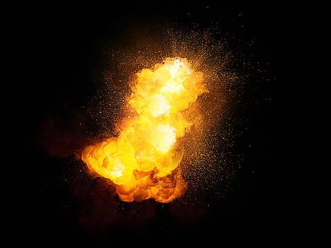 Realistic fiery bright explosion with sparks and smoke by Lukasz Szczepanski
