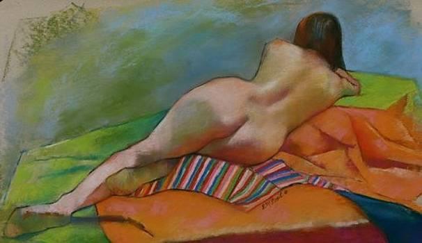 Reclining Female on Striped Cloth by Evelyn  M  Breit