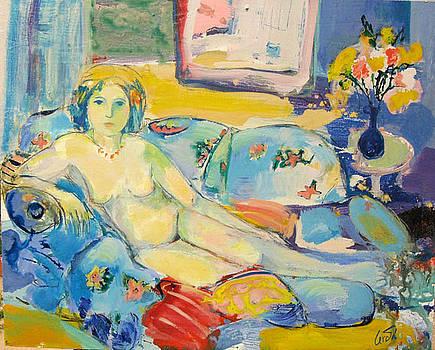 Reclining nude on a sofa by Maria Antonia Cerda