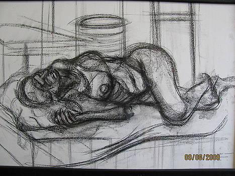 Reclining pose of a nude woman  by Shant Beudjekian