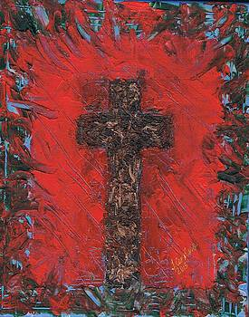 Red Abstract Cross Painting by Tara Cordero