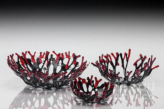 Red and Black Coral Bowls by Sandy Feder
