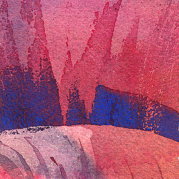 Red and Blue abstract Deconstruction 080 by Yevgenia Watts