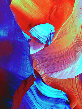 Red and Blue Abstract Swirls by Marcia Socolik