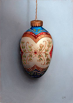 Red and Blue Filigree Egg Ornament by Linda Merchant