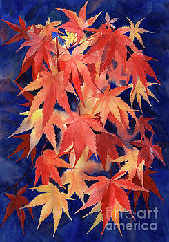 Red and Blue Maple Leaf Design by Sharon Freeman