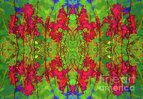 Red and Green Floral Abstract by Linda Phelps