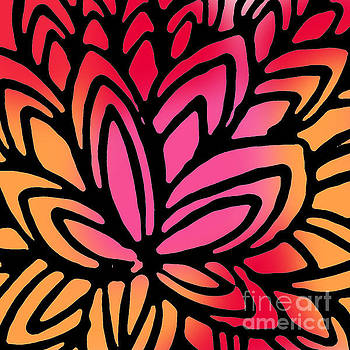 Red and Orange Doodle Flower by Robin Gayl
