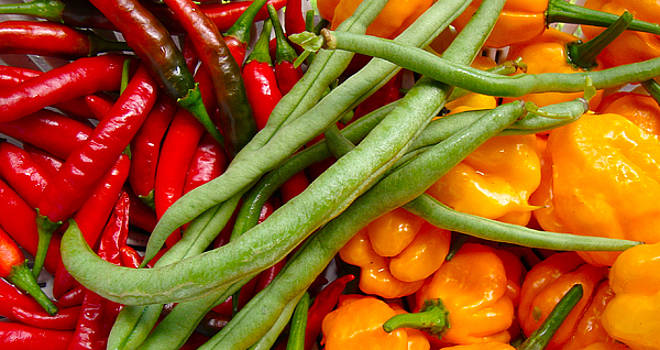 Red and Yellow Peppers and Beans by Chuck Snyder