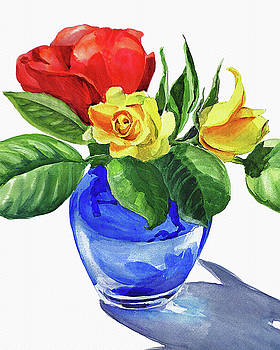 Red And Yellow Rose In Blue Glass Vase Watercolor by Irina Sztukowski