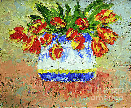 Red and Yellow Tulips by Lynda Cookson