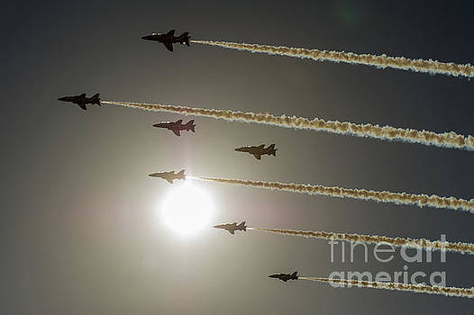 Red Arrows backlit arrival  by Gary Eason