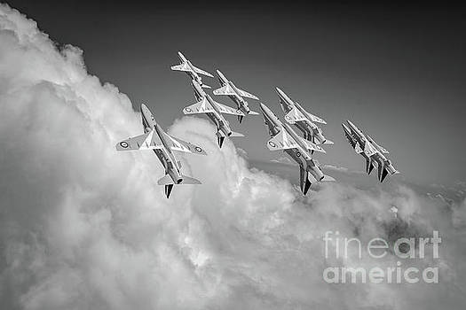 Red Arrows sky high BW version by Gary Eason