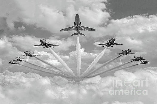 Red Arrows smoke on BW version by Gary Eason