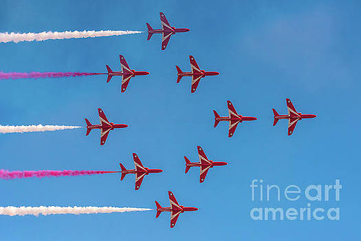 Red Arrows Typhoon formation by Gary Eason