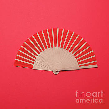 Red Asian fan on red background - Minimal design by Aleksandar Mijatovic