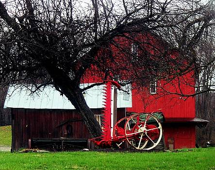 Red Barn and Horse Drawn Sickle Bar Mower by R A W M