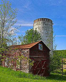 Red Barn and Silo by Paula Porterfield-Izzo