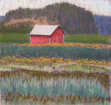 Red Barn at Fir Island Reserve by  Joseph Soulagnet
