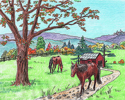 Red Barn Horses Autumn Ranch  by Irina Sztukowski