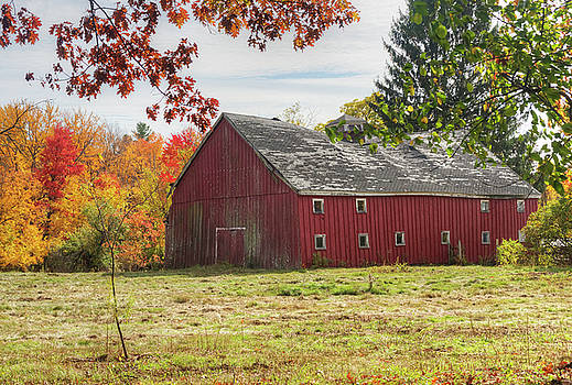 Red Barn in Fall by Lee Fortier