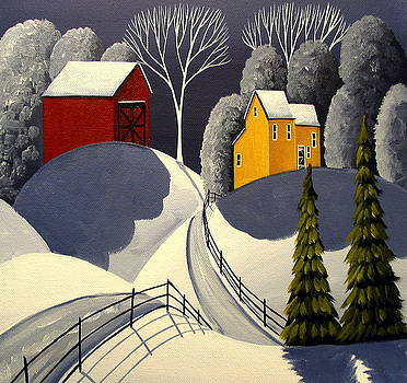 Red Barn In Snow by Debbie Criswell