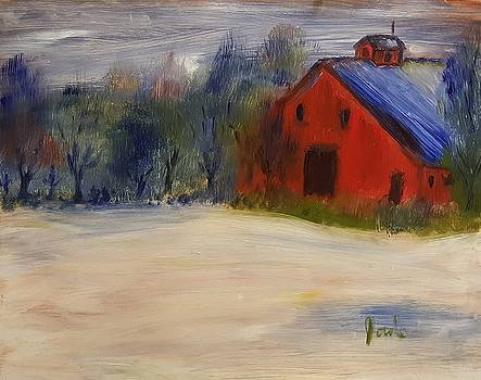 Red Barn in Snow  by Steve Jorde