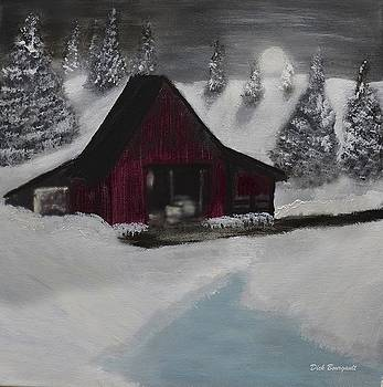 Red Barn in Winter by Dick Bourgault