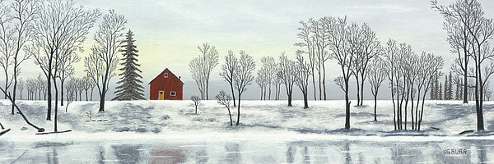 Red Barn In Winter by George Burr