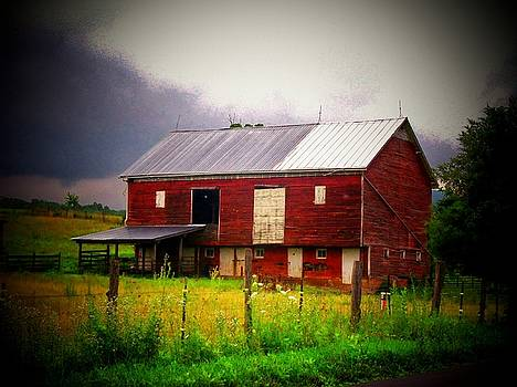 Red Barn on a Cloudy Day by Joyce Kimble Smith