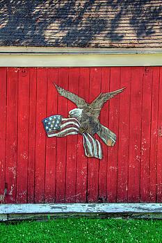 Red Barn Patriotic Scene by Joann Vitali