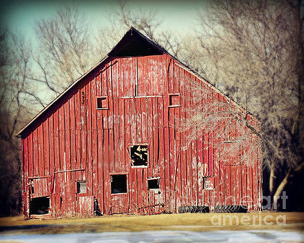 Red Barn With Two Spares by Kathy M Krause