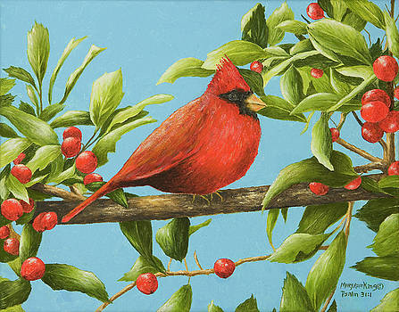 Red Bird and Holly Berries by Mary Ann King