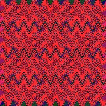 Red black Geometric Wave Patter by BrightVibesDesign