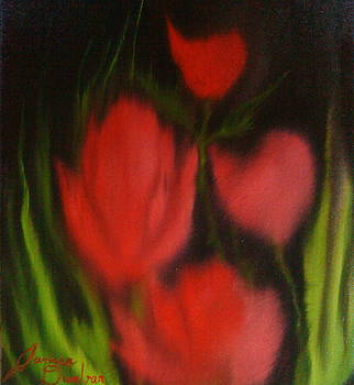 Red Black Sky Poppies12 by Portland Art Creations