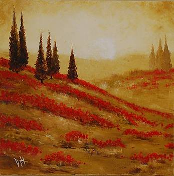 Red Blooms at Dawn by Debra Houston