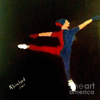 Red Blue White Ballet Dancer by Richard W Linford