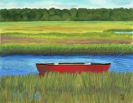 Red Boat - Assateague Channel by Arlene Crafton