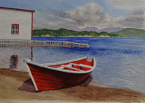 Red Boat at Woody Point NL by Doug Goodale