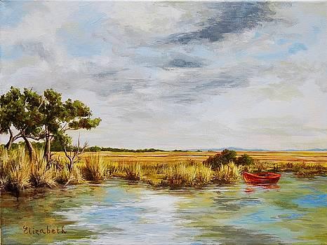 Red Boat in Marsh by Beth Maddox