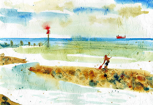 Red Boat in Norfolk by Alexandra Cook