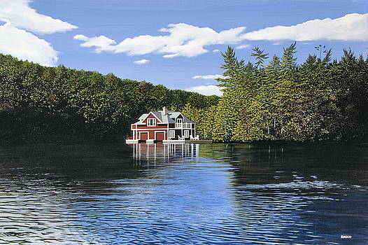 Red Boathouse by Kenneth M  Kirsch