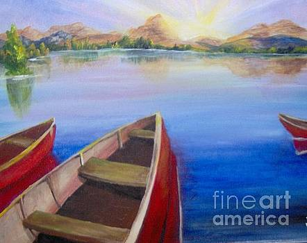 Red Boats at Sunrise by Saundra Johnson