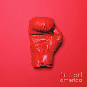 Red boxing glove on red background - Flat lay by Aleksandar Mijatovic