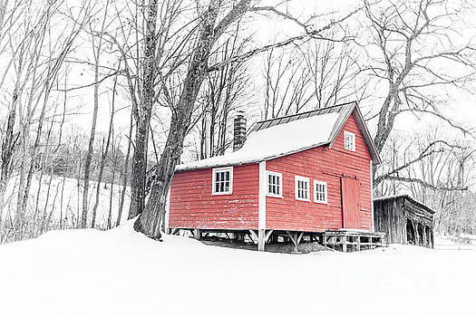 Red Cabin in the Woods Winter in Vermont by Edward Fielding